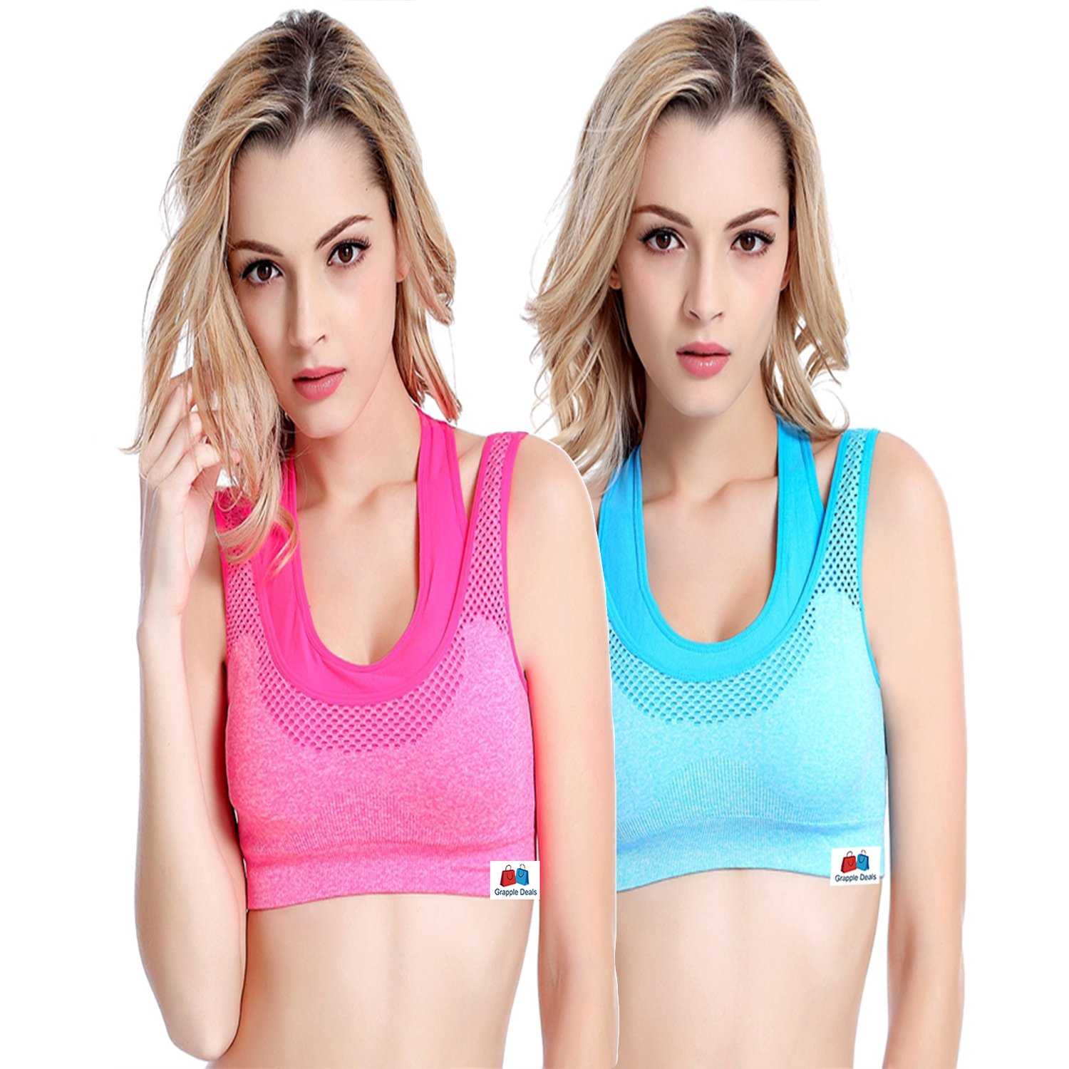cef27817fd53c GRAPPLE DEALS Combo of 2 Women s Comfort Revolution Workout Fitness Sports  Bras Fake Two Pieces Yoga Athletic Gym Padded Seamless Strap Racerback.