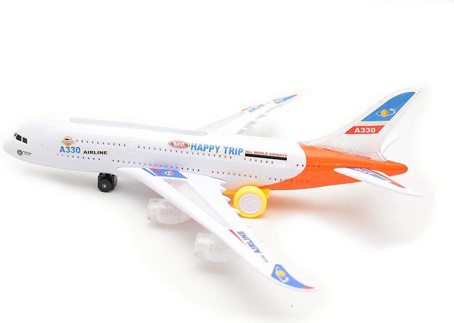 Airbus A380 Airplane Action Toys with Colorful Dynamic Lights and Realistic Airplane Sounds. Airplane Toys for Kids A330 Bump and Go Action Battery Operated Airplane Toy with Light and Sound