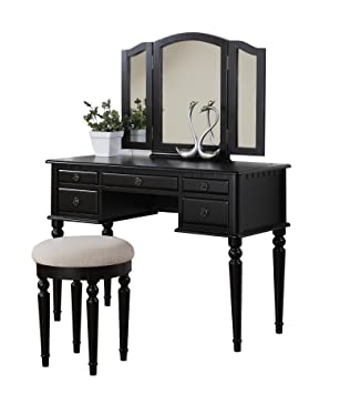 bobkona f4072 st croix collection vanity set with stool black
