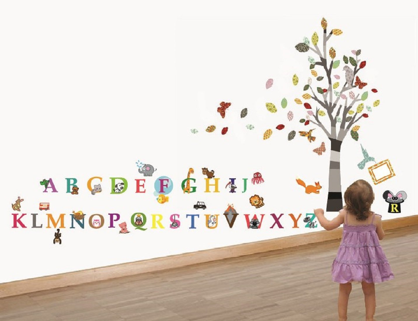 Walplus wall stickers combo colourful photo tree plus alphabet walplus wall stickers combo colourful photo tree plus alphabet office home decoration 100pcs finish size 150cm x 130cm pvc removable self adhesive amipublicfo Images