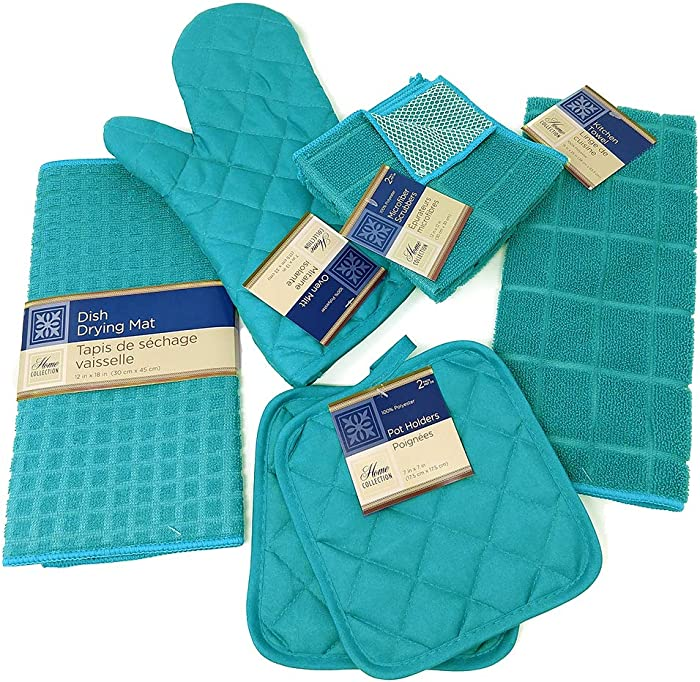 Kitchen Towel Set with 2 Quilted Pot Holders, Oven Mitt, Dish Towel, Dish Drying Mat, 2 Microfiber Scrubbing Dishcloths (Turquoise)