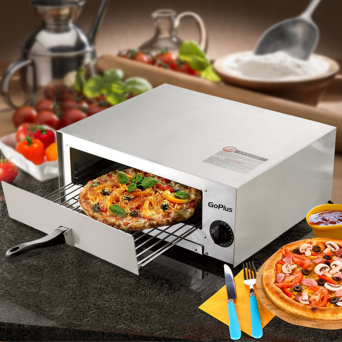 Goplus Pizza Oven, Stainless Steel Pizza Maker Machine, Pizza Baker W/Snack Pan, Snack Maker, Counter Top, for Commercial and Home by Goplus (Image #2)