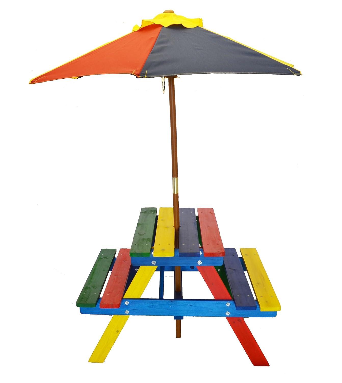 Home And Garden HGC Junior Rainbow Kids Picnic Table Set With Umbrella