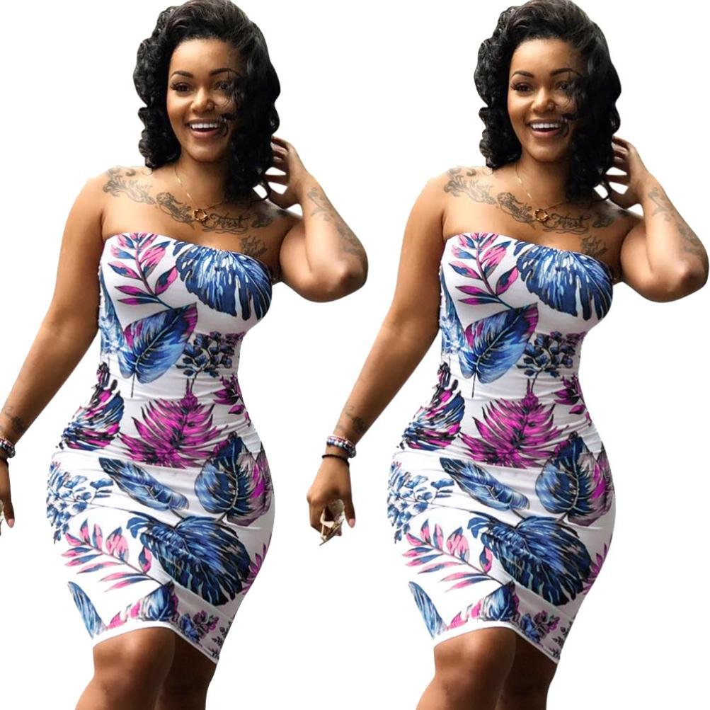 520fa2367e4 Amazon.com  Plus Size Women Bodycon Sexy Off Shoulder Floral Clubwear Party  Dresses  Clothing