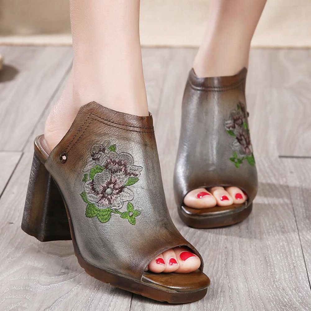 Color : B, Size : 40 XUEXUE Womens Shoes Leather Spring//Summer Driving Shoes National Style Sandals//Slippers /& Flip-Flops Walking Shoes Office Breathable Lightweight