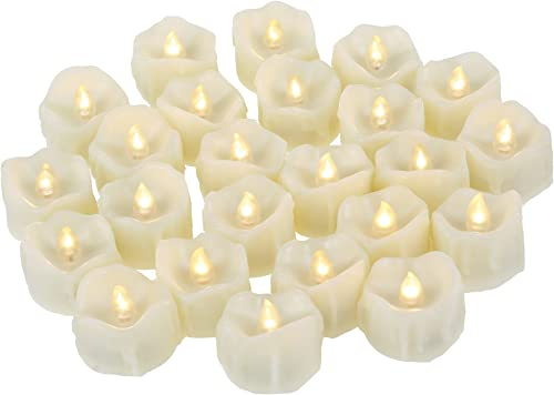24 Pack Battery Operated Flameless LED Votive Tealight Candles Realistic Flickering Electric Tea Lights Set Bulk Halloween Jack O Lantern Party Wedding Decorations Centerpieces Decor Batteries Incl.