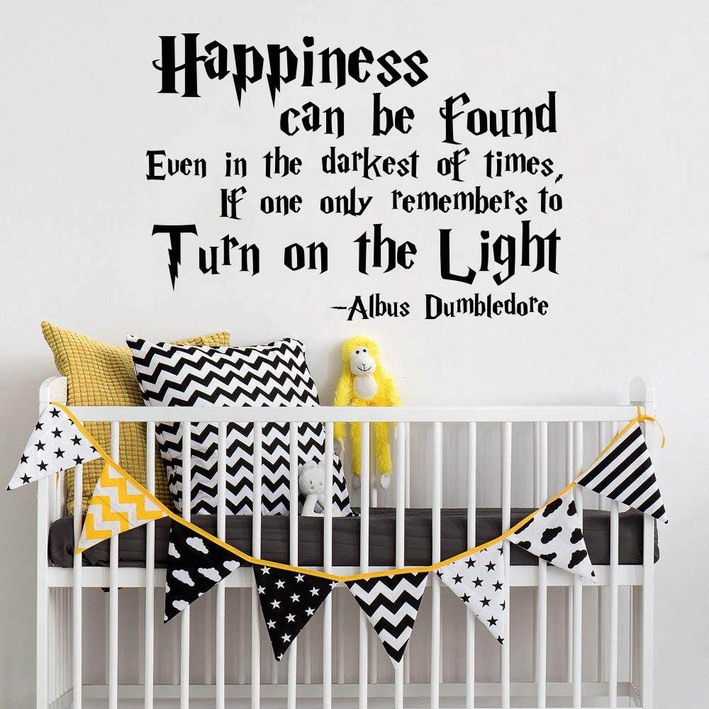 Happiness can be found even in the darkest of times Decal Albus Dumbledore Quote Harry Potter Quotes Wall Decals/Wall Decals Nursery Decor/Wall Decal Nursery Quote Vinyl Sticker vs67