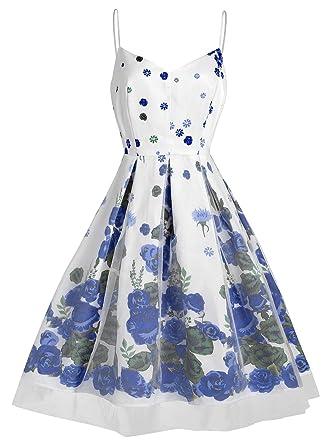 d0f067b8953 KCatsy Vintage Spaghetti Strap Floral Print Dress at Amazon Women s ...