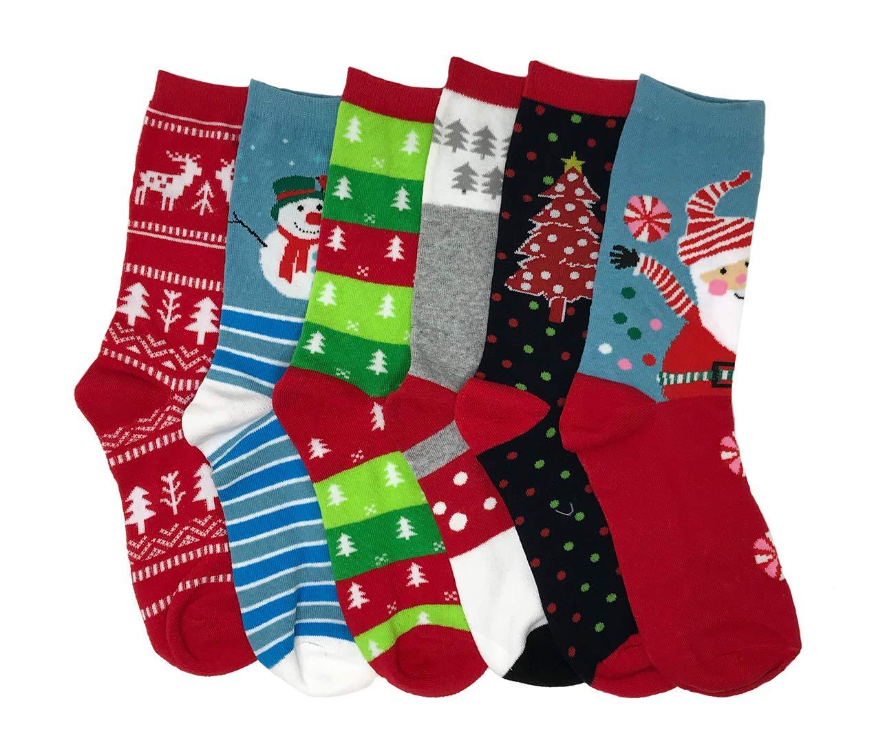 IS-6-Pairs-Crew-Socks-Printed-Fun-Colorful-Festive-Crew-Knee-Cozy-Socks-Women-Fancy-Christmas-Holiday-Design-Soft