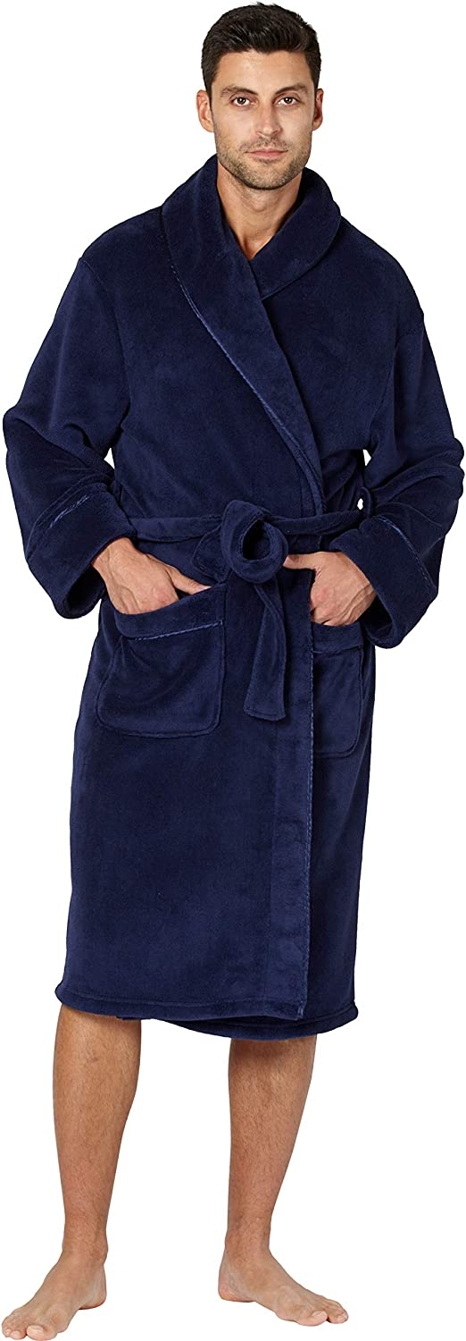 INTIMO Mens Solid Cozy Plush Robe with Satin Trim