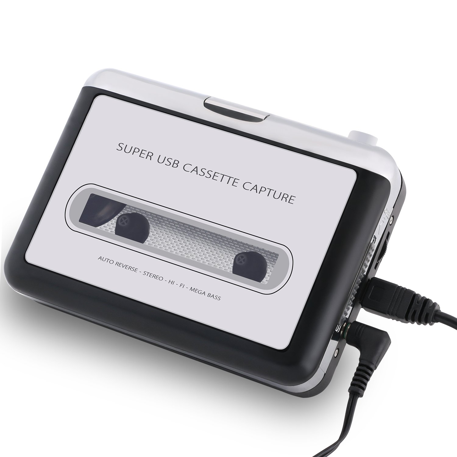 Incutex Kassette zu MP3 Konvertierer und Player mit PC, tragbarer USB Kassettenspieler to MP3 converter