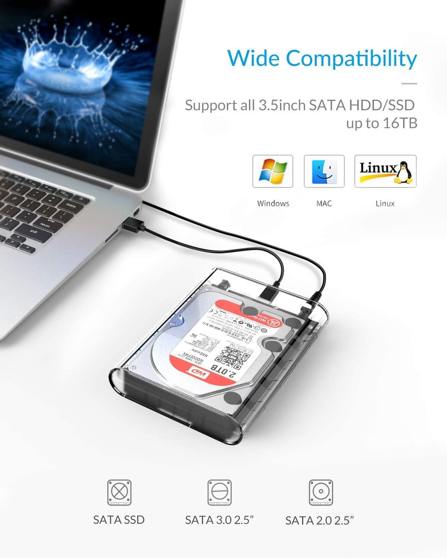ORICO - Caja de disco duro USB 3.0 de 3,5 pulgadas para disco duro ...