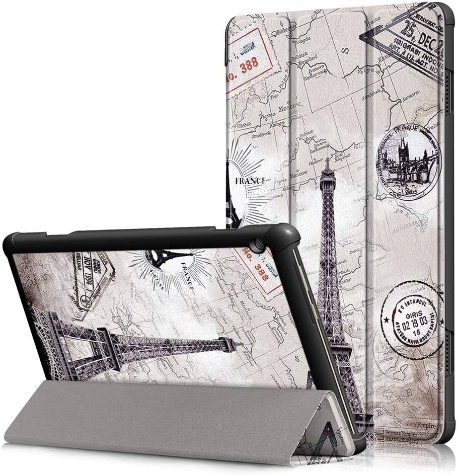DETUOSI Slim Case Compatible with Lenovo Smart Tab M10 10.1 inch 2018 (Model: TB-X605F),【NOT Fit for Tab M10 2019 (TB-X505F)/ M10 FHD Plus 10.3 2020 (TB-X606F)】, Leather Tri-Fold Stand Cover, 7