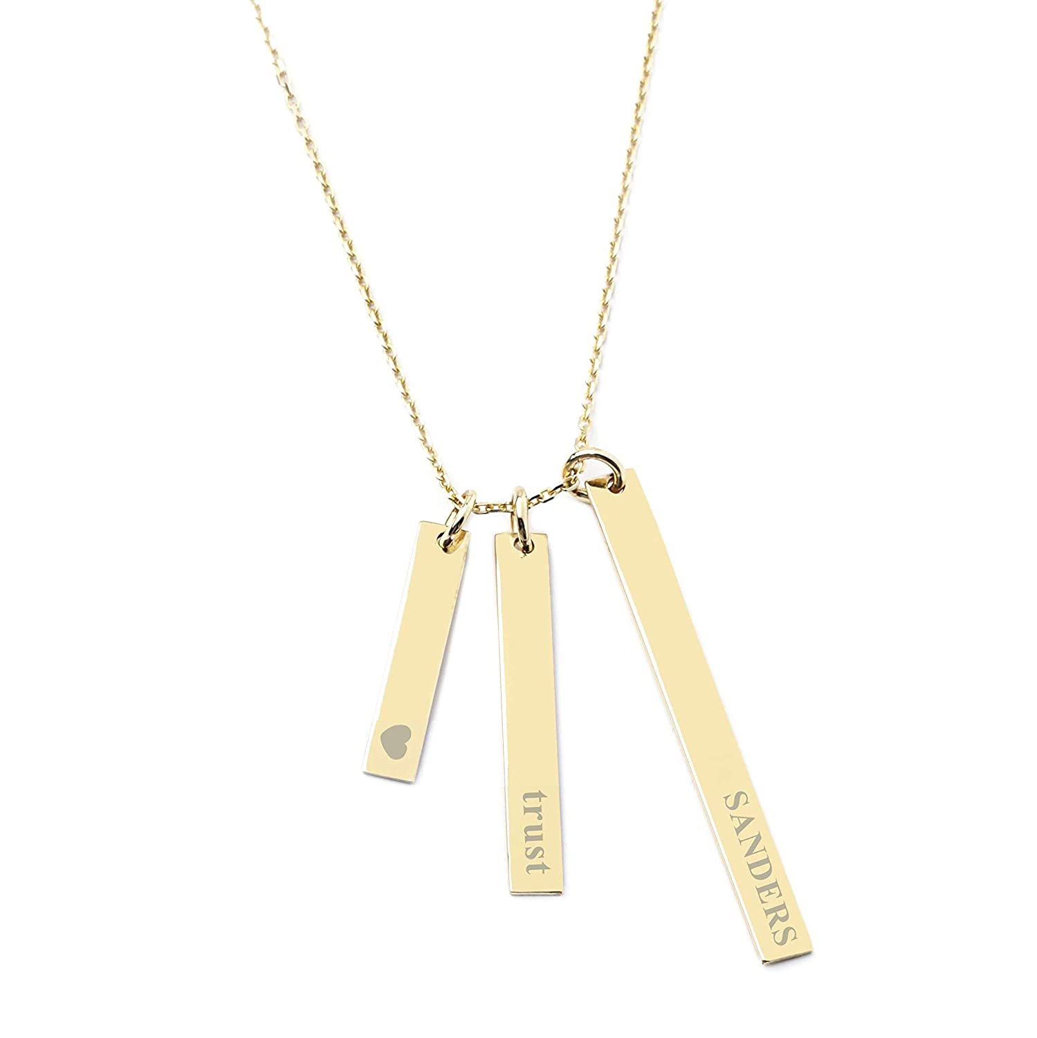 Name Word Bar Necklaces Rose Gold Silver or Gold Wedding Bridesmaids Mom