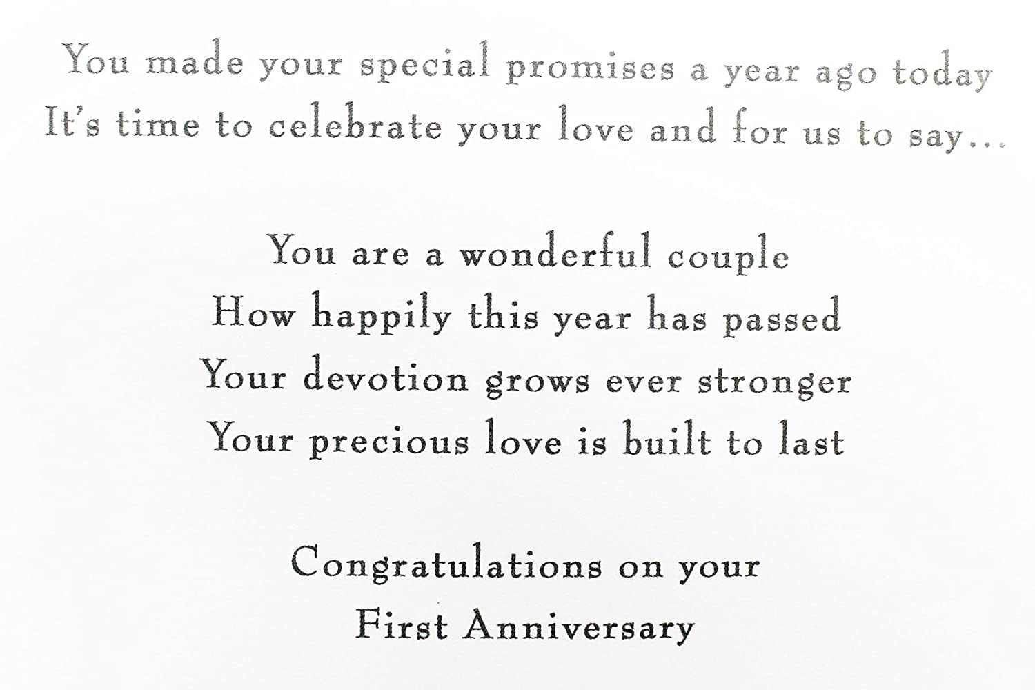 1st Wedding Anniversary Greeting Card To Couple Hallmark Paper First