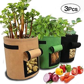 SPECOOL - Bolsa para Cultivo de Patatas (3 Unidades, 7 galones, para Ventana de Vegetales, Doble Capa, Transpirable, no Tejida), Color marrón + Verde ...