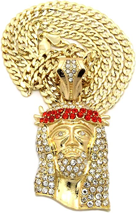 NEW ICED OUT JESUS FACE PENDANT /&3.5mm//24 DIA-CUT CUBAN CHAIN NECKLACE XZ106DCGRD