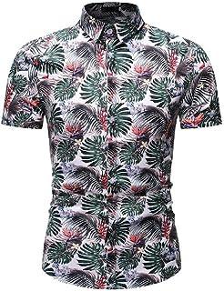 SHOWNO Mens Button Down Short Sleeve Business Floral Print Summer Dress Shirts