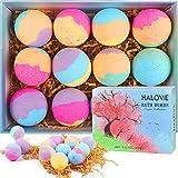 12 Gift Set Natural Bath Bombs, HALOViE Organic Handmade Bubble Bath Ball 2 Oz for Kids Women
