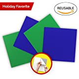 """Peel n Stick Building Block Baseplates : Flexible, Cuttable, Reusable Self Adhesive Baseplates : Compatible with KRE-O, Mega Bloks, DUPLO, & Lego (10""""x10"""") (10""""x10X 4 Pack, Green + Blue)"""