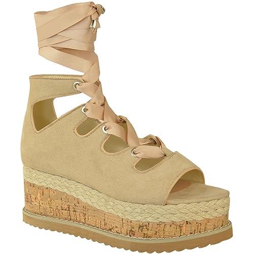 Fashion Thirsty heelberry Mujer Cordones Lazo Alpargatas Plataforma Plataforma Plana Sandalias Planas Número - Carne Ante Artificial, 40: Amazon.es: Zapatos ...