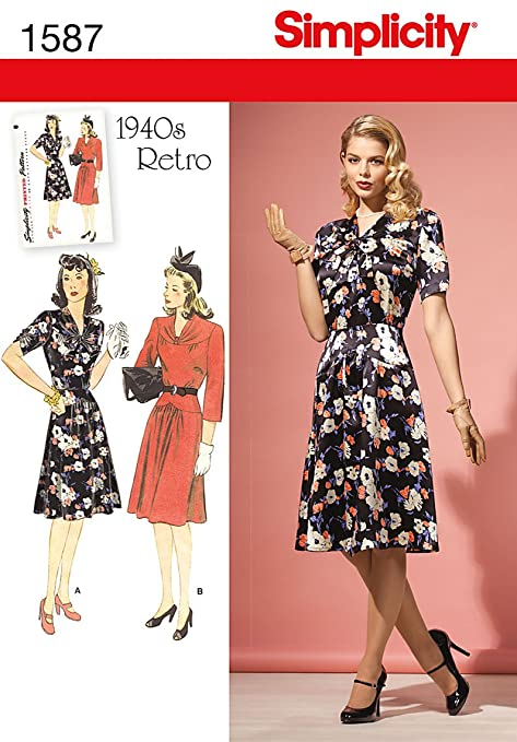 1940s Sewing Patterns – Dresses, Overalls, Lingerie etc 1940s Vintage / RETRO Dress (14-22) SEWING PATTERN                               $8.95 AT vintagedancer.com