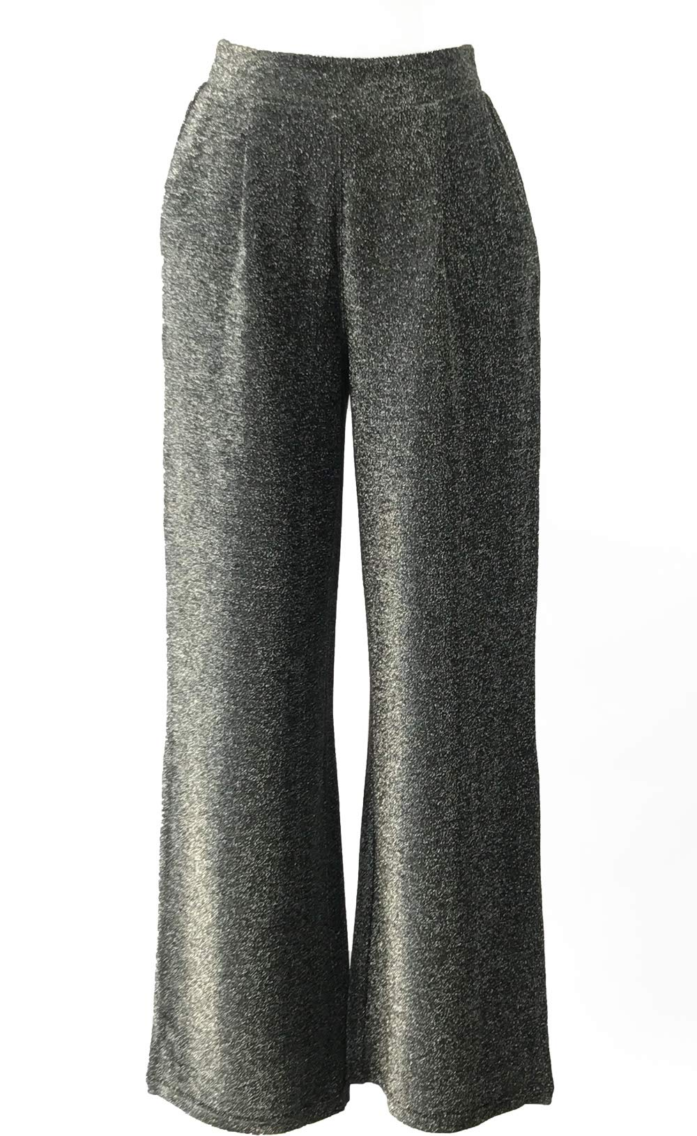 Blend 4 Thee Women Casual Wide Leg Pants, Elastic Waistband with Pockets (Wide Leg-Shiny Silver Lurex, XS)