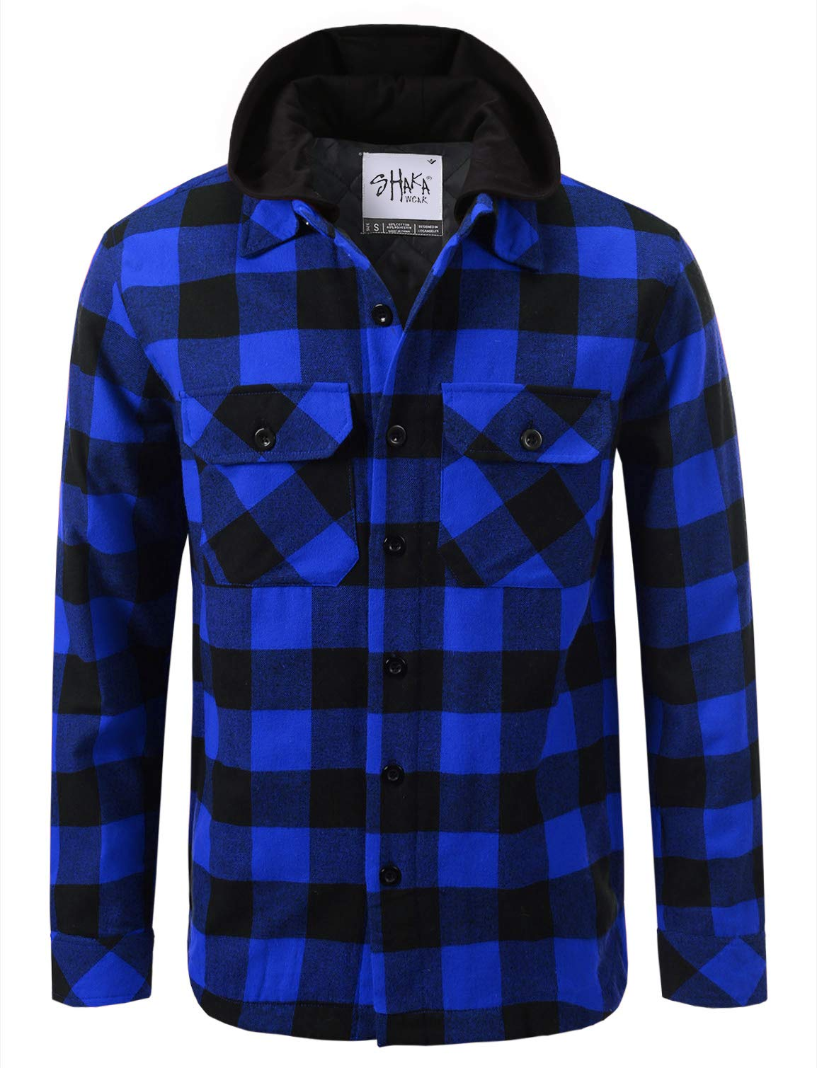 Shaka Wear FFJ1302_M Hooded Flannel Jacket Quilted Iined Royal/Black M by Shaka Wear