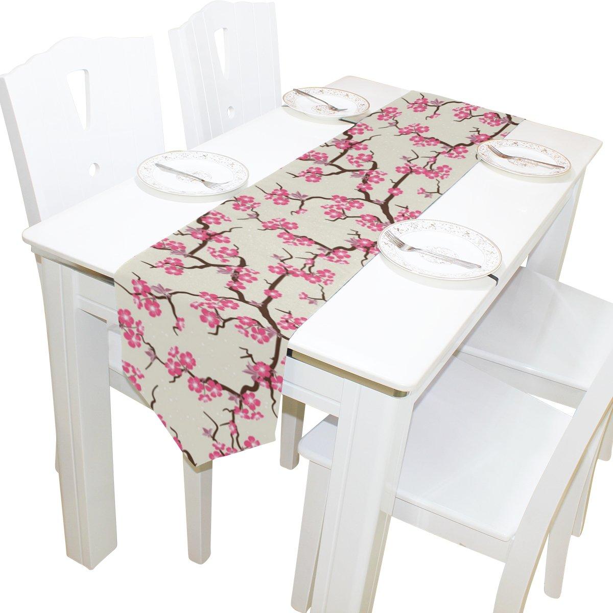 Alazaテーブルランナーホーム装飾、ヴィンテージJapanese Cherry Blossomテーブルクロスランナーコーヒーマットforウェディングパーティー宴会装飾13 x 70インチ 13x70 ホワイト 13x70  B075LMVSDV