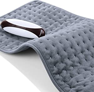 """Heating Pad for Back Neck Shoulder Cramps Pain Relief Hot Heated Pad Size 12"""" x 24"""" Soft Touch Washable Fast Heating 5 Temperature Settings with Auto Shut Off"""