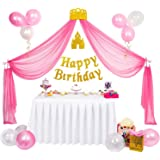 Princess Party Supplies, Princess Birthday Decorations for Girls, Pink and Gold Party Supplies, Tulle Princess Backdrop, Happy Birthday Banner, Princess Crown Hair Pin, Pink and White Balloons