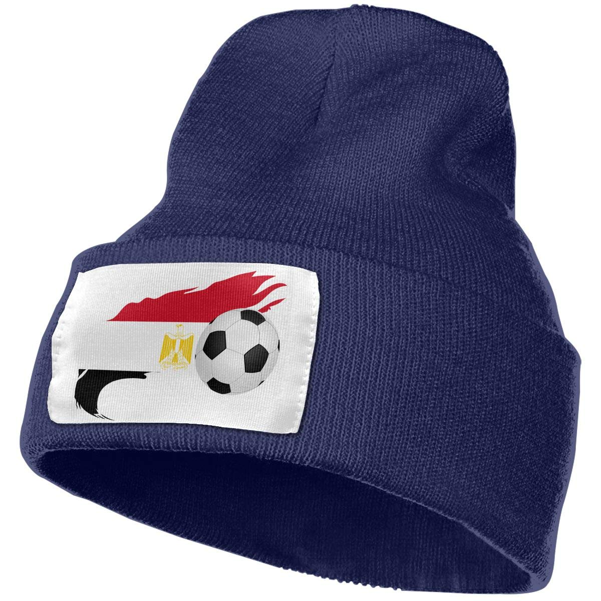 Soccer Ball with Egypt Flag Women and Men Skull Caps Winter Warm Stretchy Knit Beanie Hats