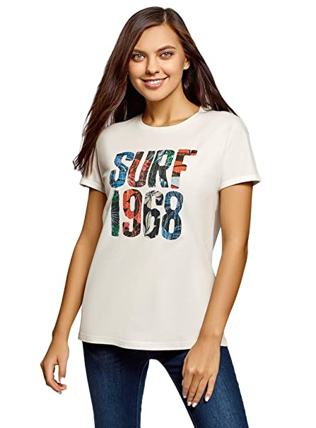 oodji Ultra Donna T-Shirt in Cotone con Scritta