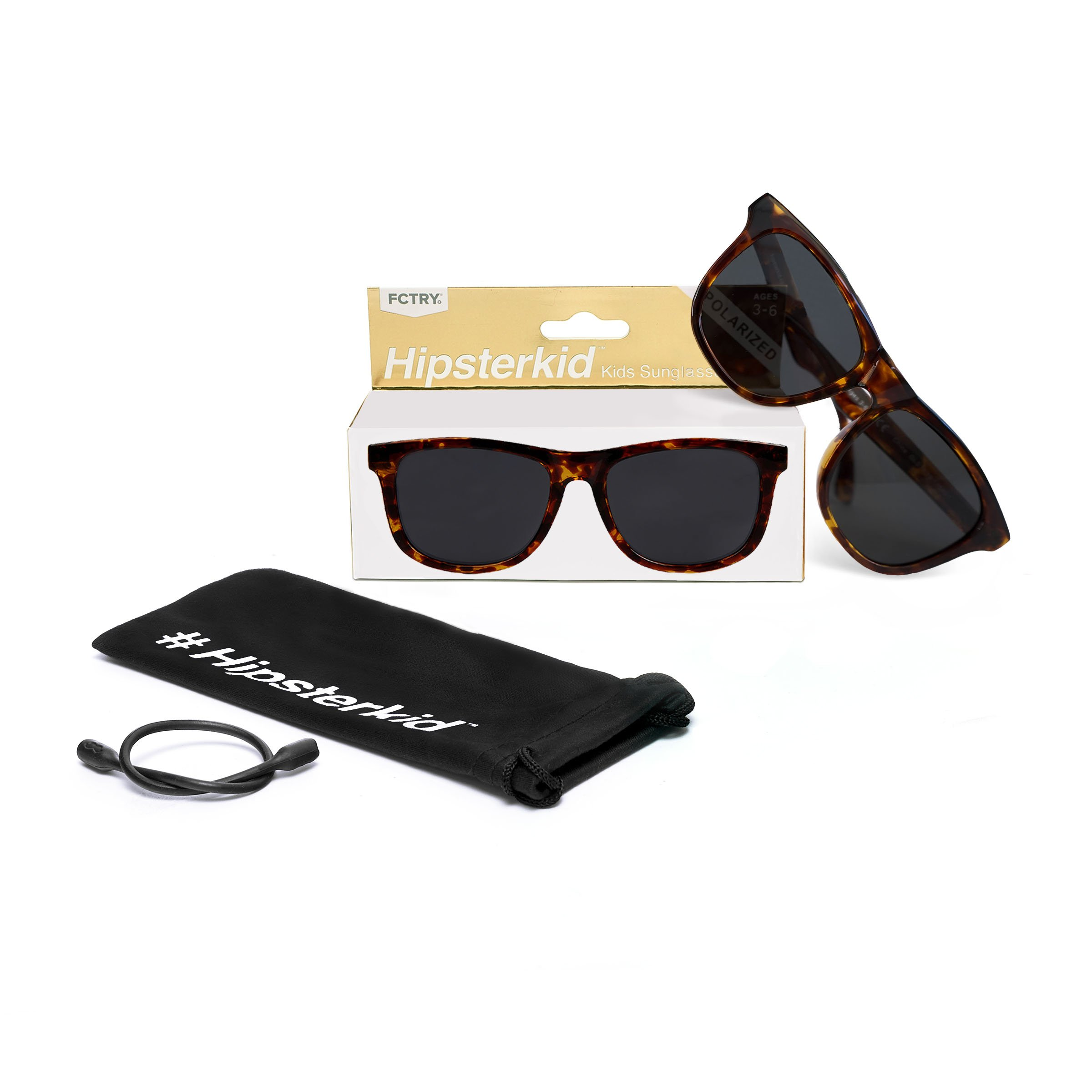 Hipsterkid BPA Free, Warranty Protected, Polarized Sunglasses for Babies, Ages 0-2, in Tortoise Shell from the Golds Collection by FCTRY