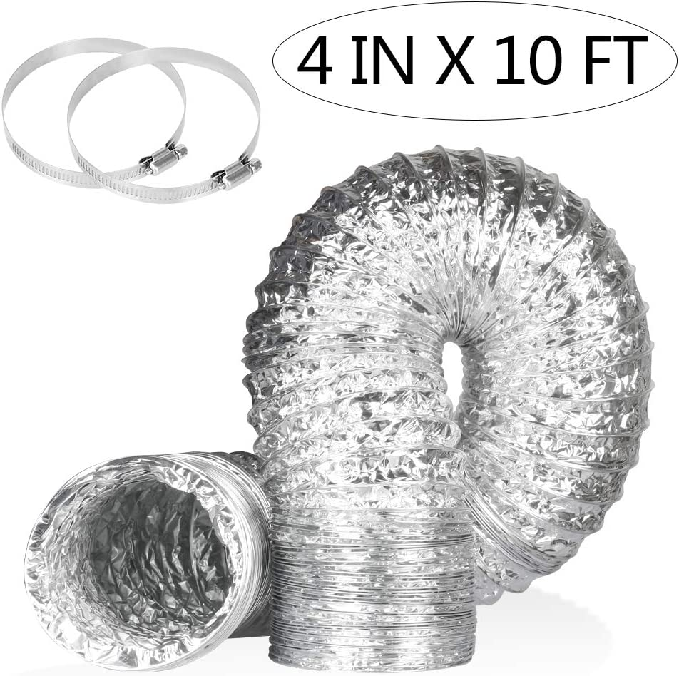 Aluminum Foil Dryer Vent Hose,10FT 4 Inch Flexible Duct,Exhaust Hose for HVAC Ventilation,Kitchens,Grow Tent,Green Houses, 2 Clamps Include