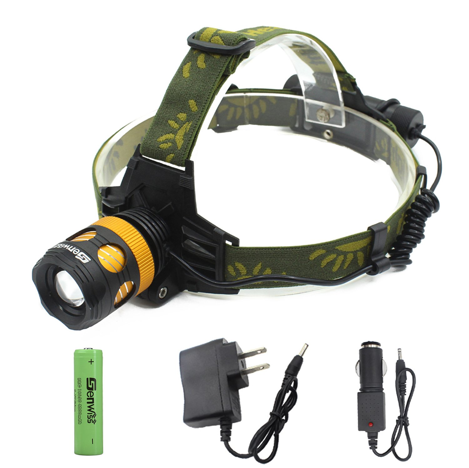 LED Headlamp FLashlight - Genwiss Waterproof Headlight Super Bright XML T6 LED Zoom Focus Front Light Zoomable Torch 3 Modes 3000 Lumen for Camping Biking Working Hunting Fishing Riding Walking(Gold)