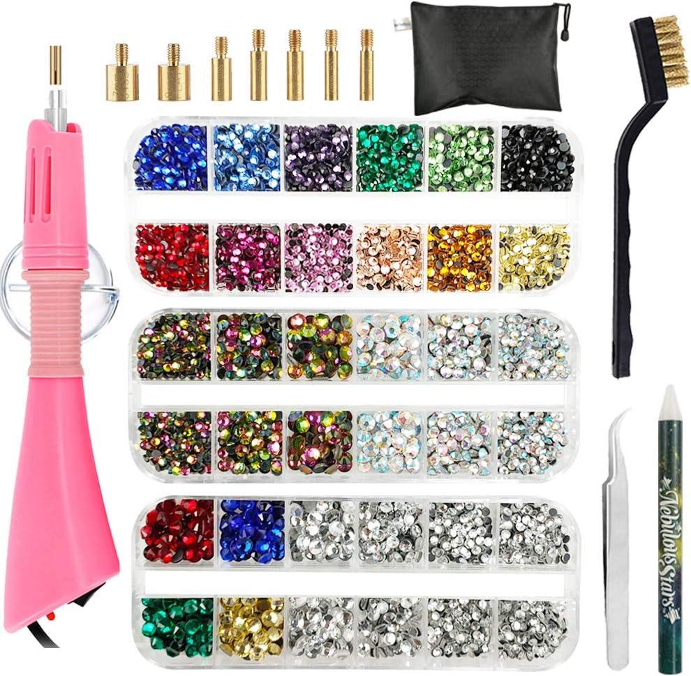 Hotfix Applicator, Hot Fix Rhinestone Setter Wand Tool, Hot-fix Bedazzle Kit, 4360 Pcs, AB Crystal, Rainbow, Clear, Colors, Tips, Manual, Tweezers, Wax Gem Picker, Brush, Stand, Zip Bag, 3 Jewel Sizes