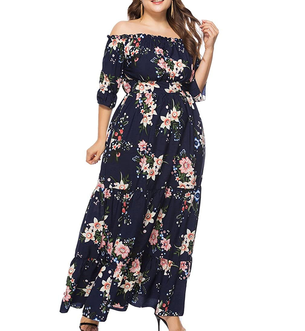 Eternatastic Women Summer Off Shoulder Polka Dot Long Dresses Plus Size   100% brand new   high quality guaranteed. Polka Dot Printed Long Dresses  Short ... d6d8f983f