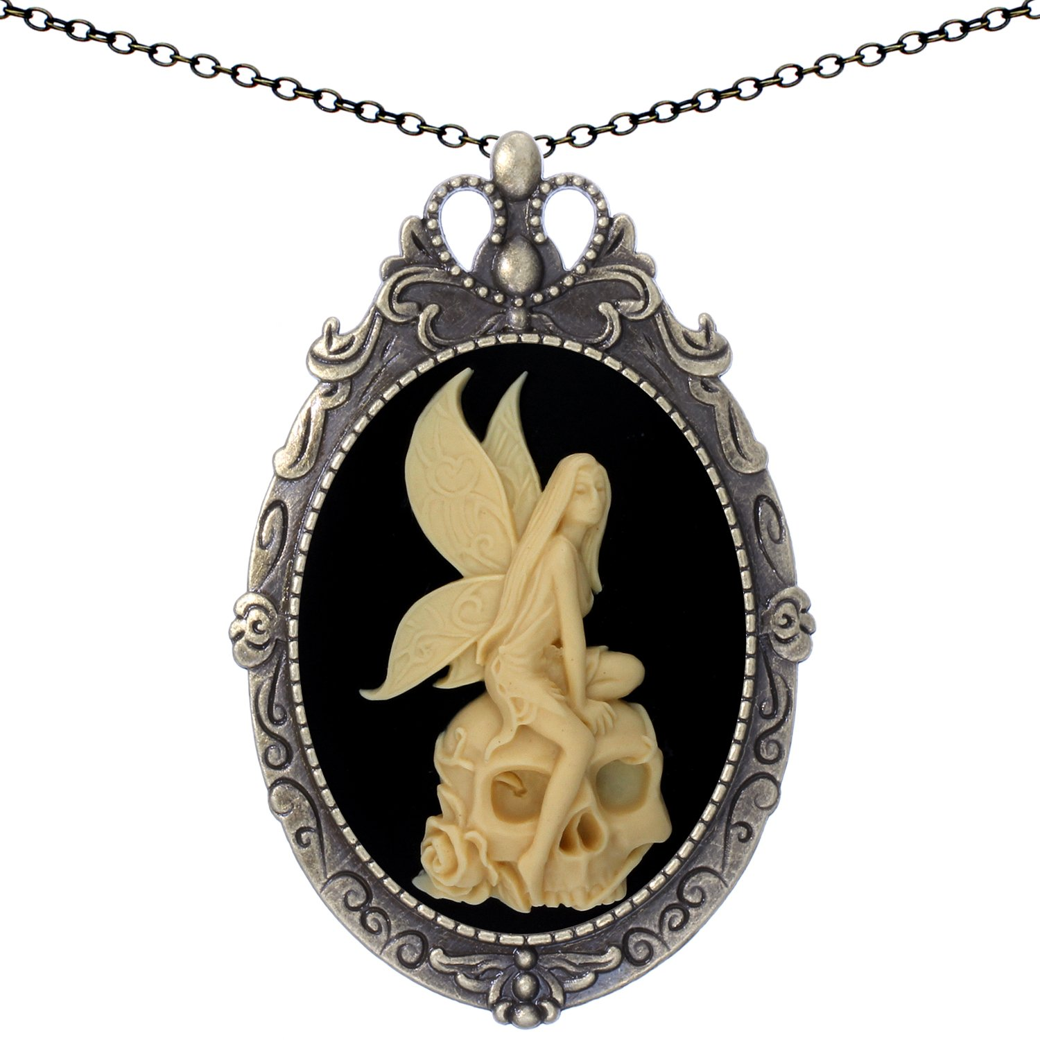 Yspace Skull Angel Brooch Antique Brass Shield Shape Pendant Necklace Two Way Jewelry 20'' Chain Pouch Gift