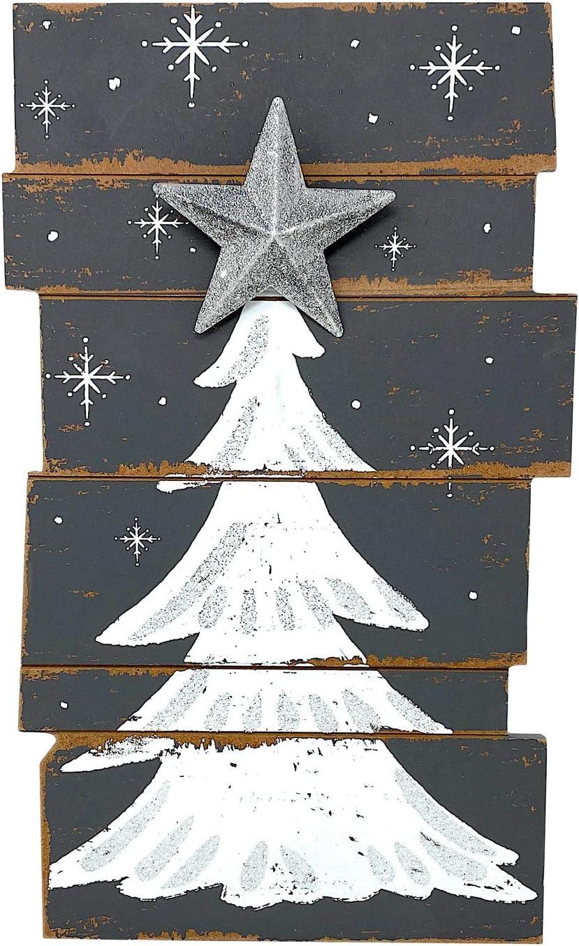 "Christmas Tree Wooden Decor Rustic Wall Door Glittery Decoration Indoor Outdoor 15.5"" x 9.5"" (Gray & White)"