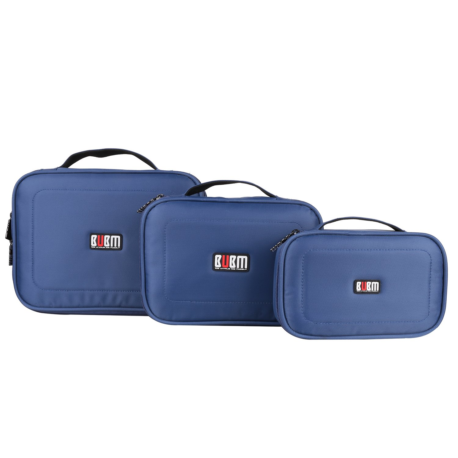 BUBM 3Pcs/set Portable Electronic Accessories Organizer Bag, Travel Gadget Bag for USB Cable,Power Cords,Chargers,Plug,Battery,External Hard Drive,Memory Card