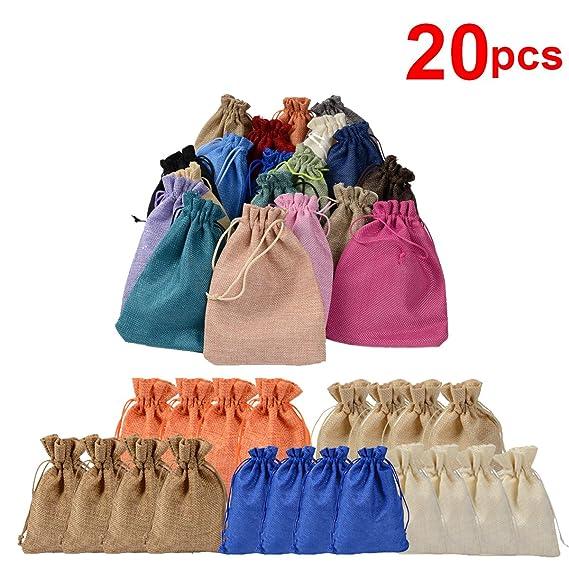 20Pcs Bolsas De Lino, Bolsos De Lazo,Favores De La JoyeríA Bolsas, Bolsas De Dulces, Para Las Decoraciones De La Boda Favor De Regalo Wrap 7.2 X 5.2 ...