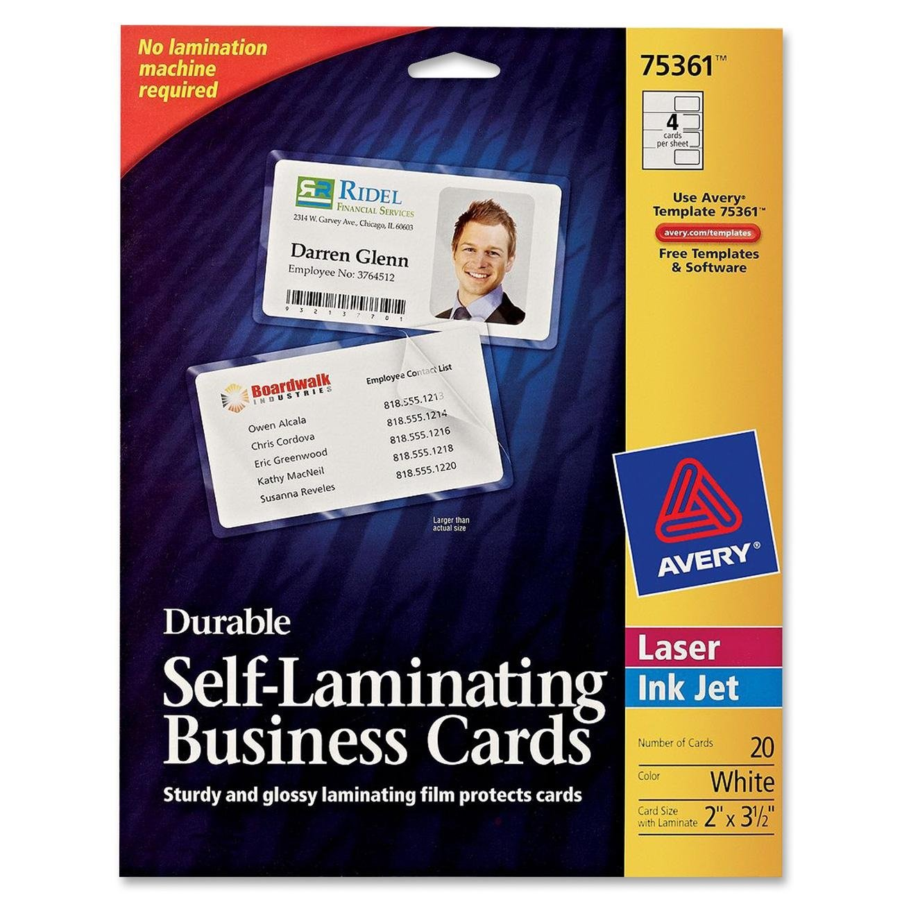 Amazon.com : Avery Durable Self- Laminating Business Cards Pack of ...