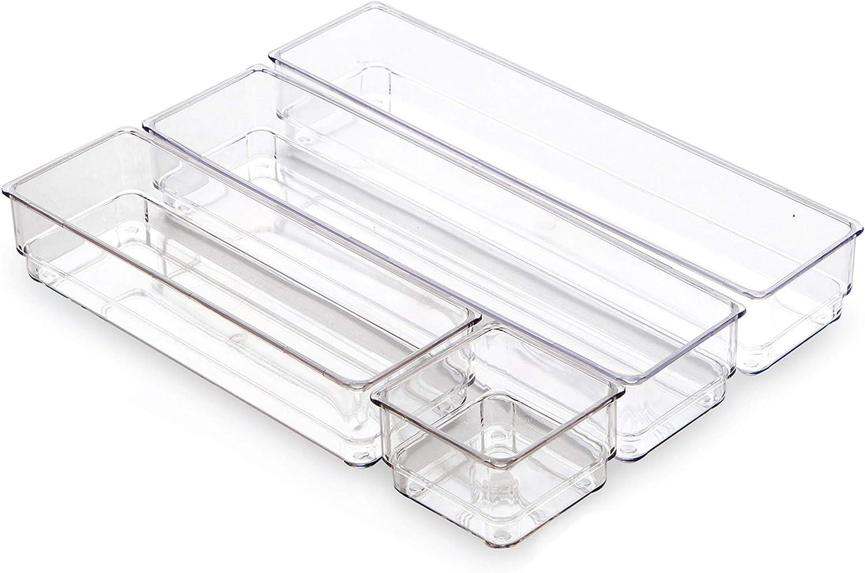 BINO 4-Tray Drawer Organizer Bin Pack - Clear, Large   Multi-Purpose Storage   Durable   BPA-Free