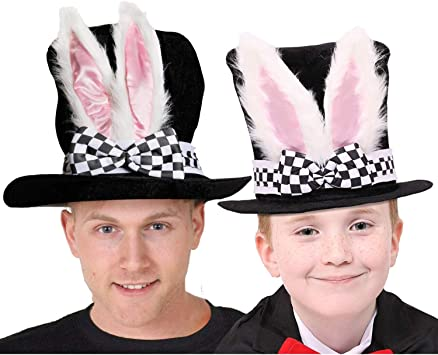 Jumbo gonfiabile orologio ILOVEFANCYDRESS Wonderland Rabbit Fancy Dress Accessory set Black top cappello con orecchie da coniglio Rabbit nose kit