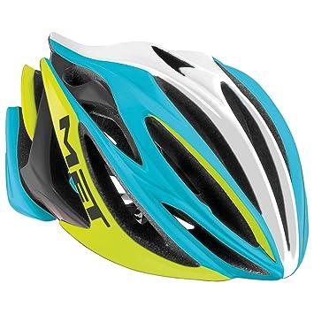 MET Casco De Bicicleta STRADIVARIUS HES, azul amarillo, 54-58