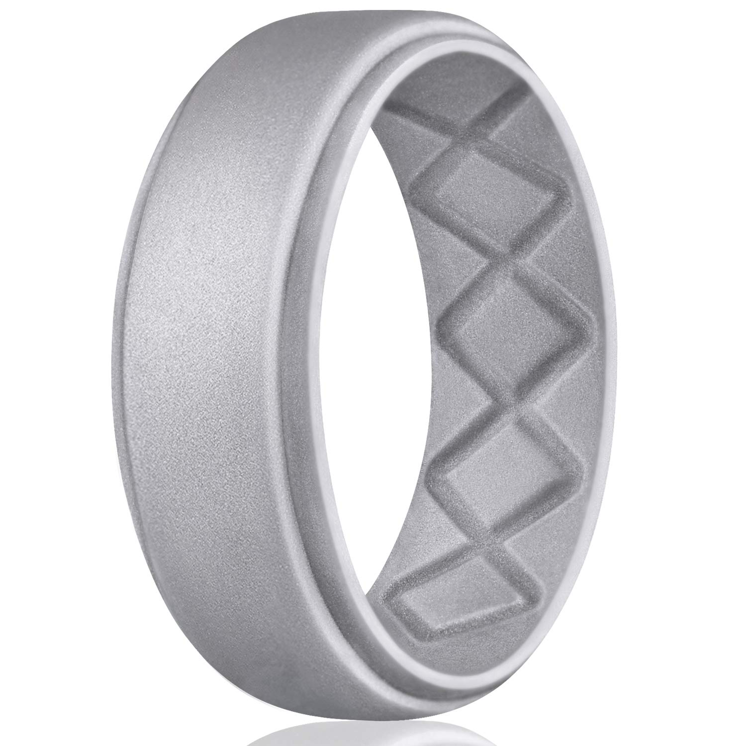 Egnaro Silicone Wedding Ring for Men, Breathable