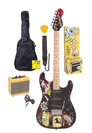 Bob Esponja Bob Esponja guitarra eléctrica BLK SOFT-Negro con accesorios