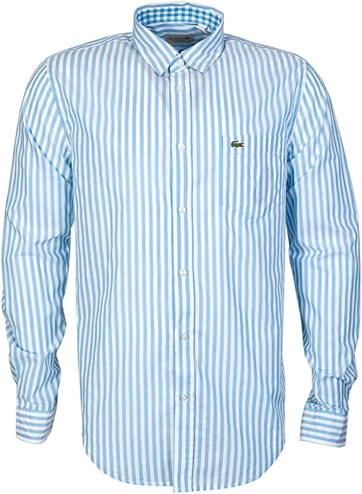 Lacoste - Camisa Casual - Rayas - Manga Larga - para Hombre Azul ...