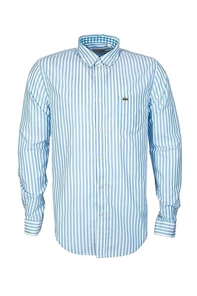 602b0082db2 Lacoste - Camisa casual - Rayas - Manga Larga - para hombre azul azul 40   Amazon.es  Ropa y accesorios